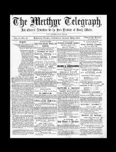 Thumbnail of a page from The Merthyr Telegraph and General Advertiser for the Iron Districts of South Wales